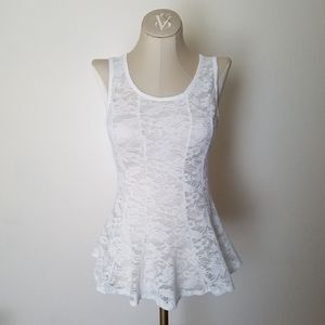 Body Central White Lace Peplum Tank Top Small